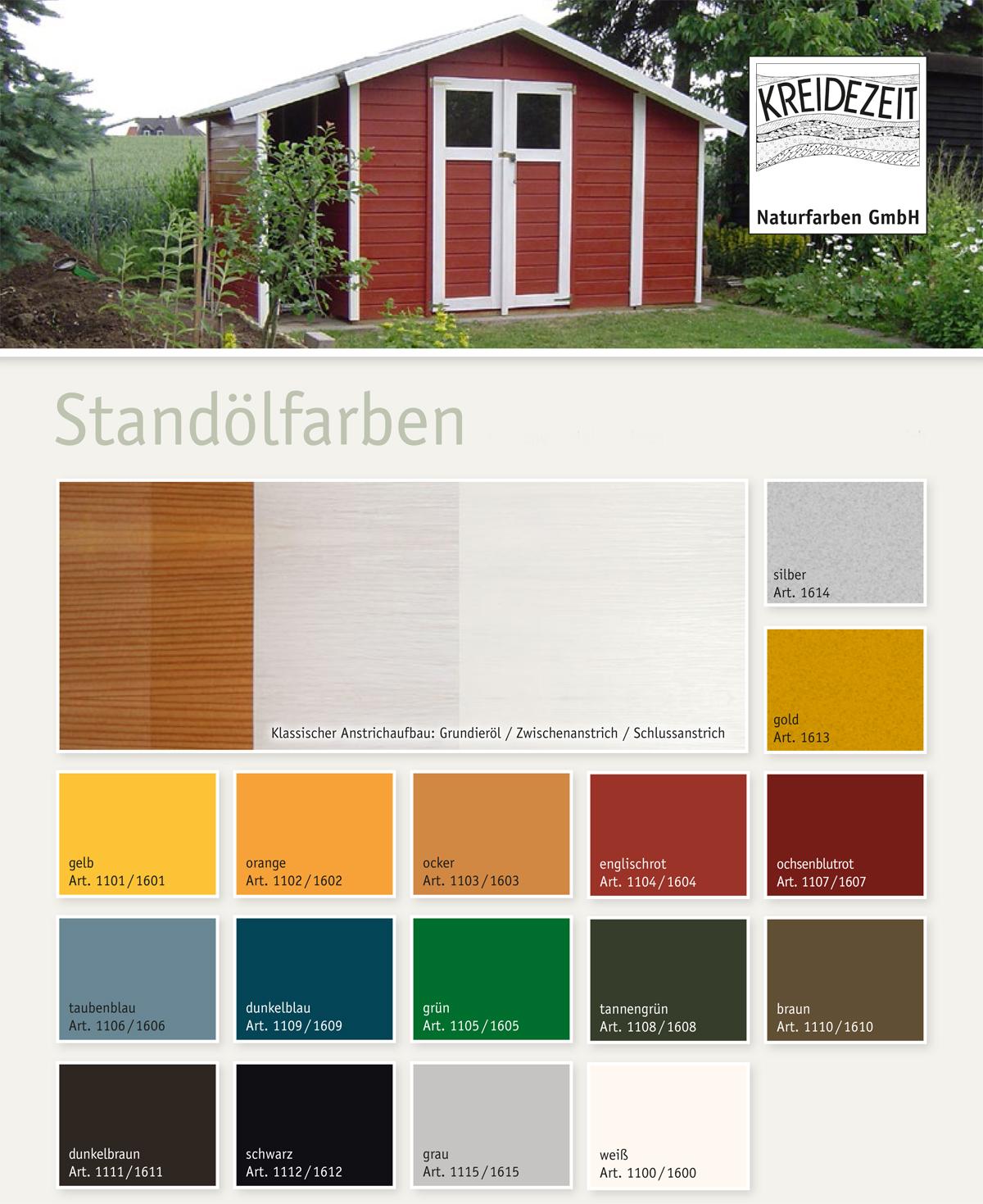 Коллеровочные таблицы и карты Kreidezeit Standölfarbe (Крайдецайт)